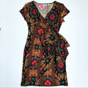 NEW YORK & Company Multi-Color Print Wrap Dress